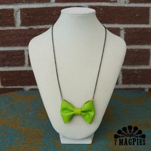 Upcycled Leather Bow Necklace in Citrus